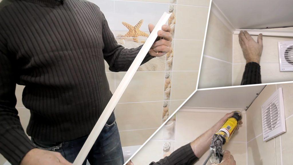 Использование жидких гвоздей в креплении потолочного плинтуса