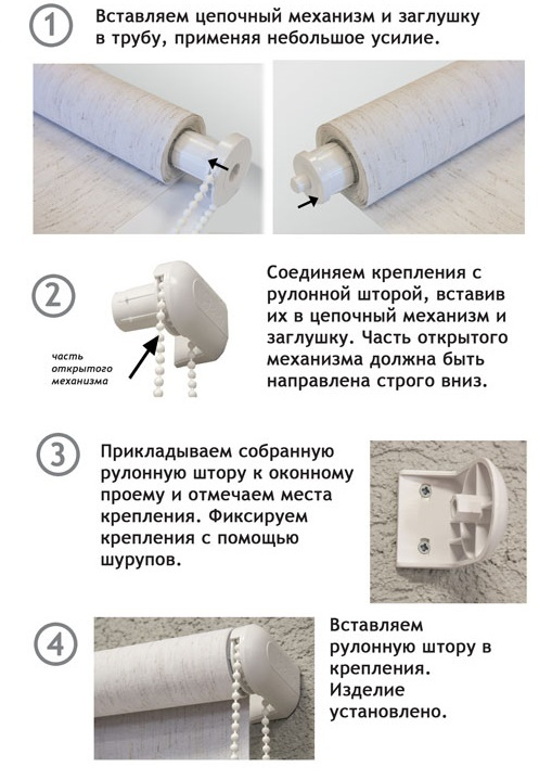 Метод крепления рулонной шторы