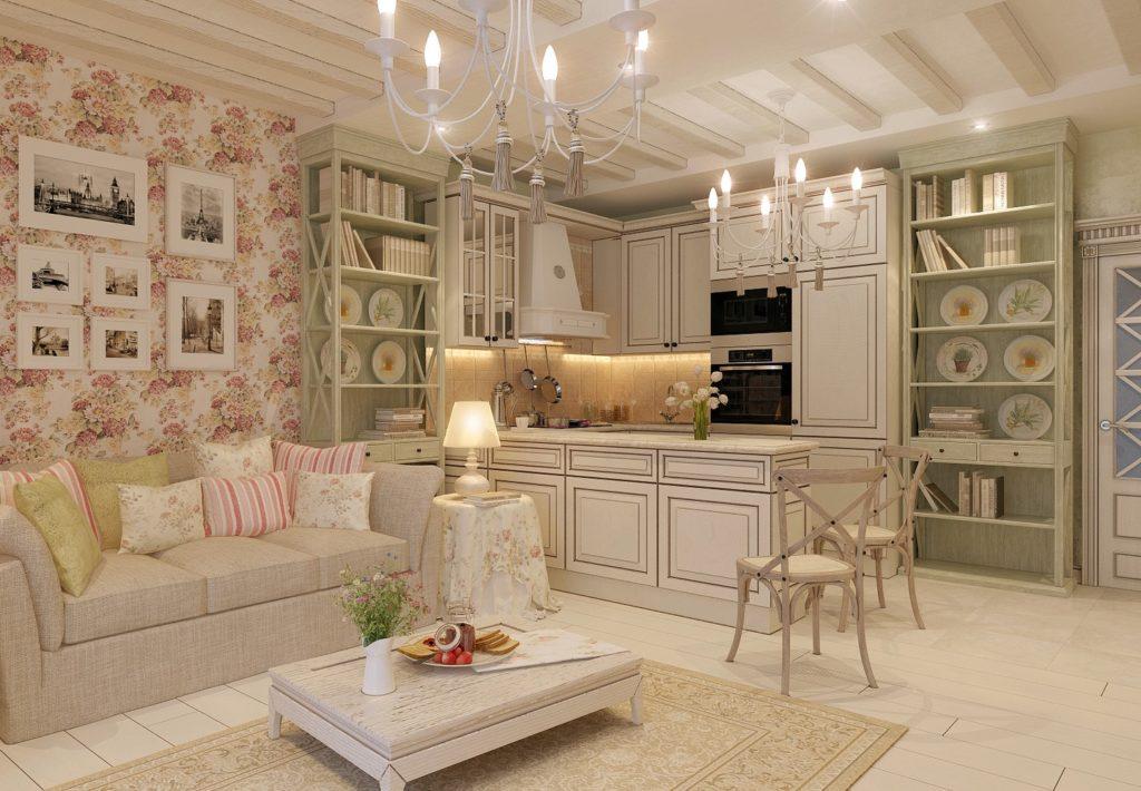 Дизайн большой комнаты в стиле шебби-шик