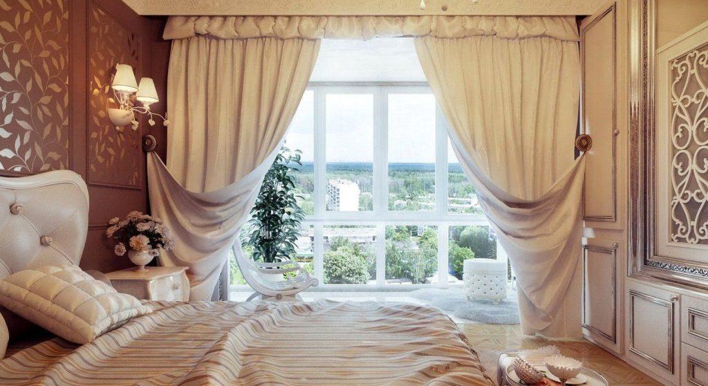 простые ламбрекены для спальни