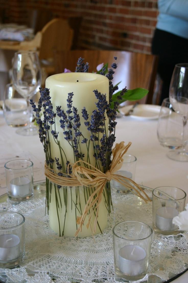 оформление свечей: сухоцветы