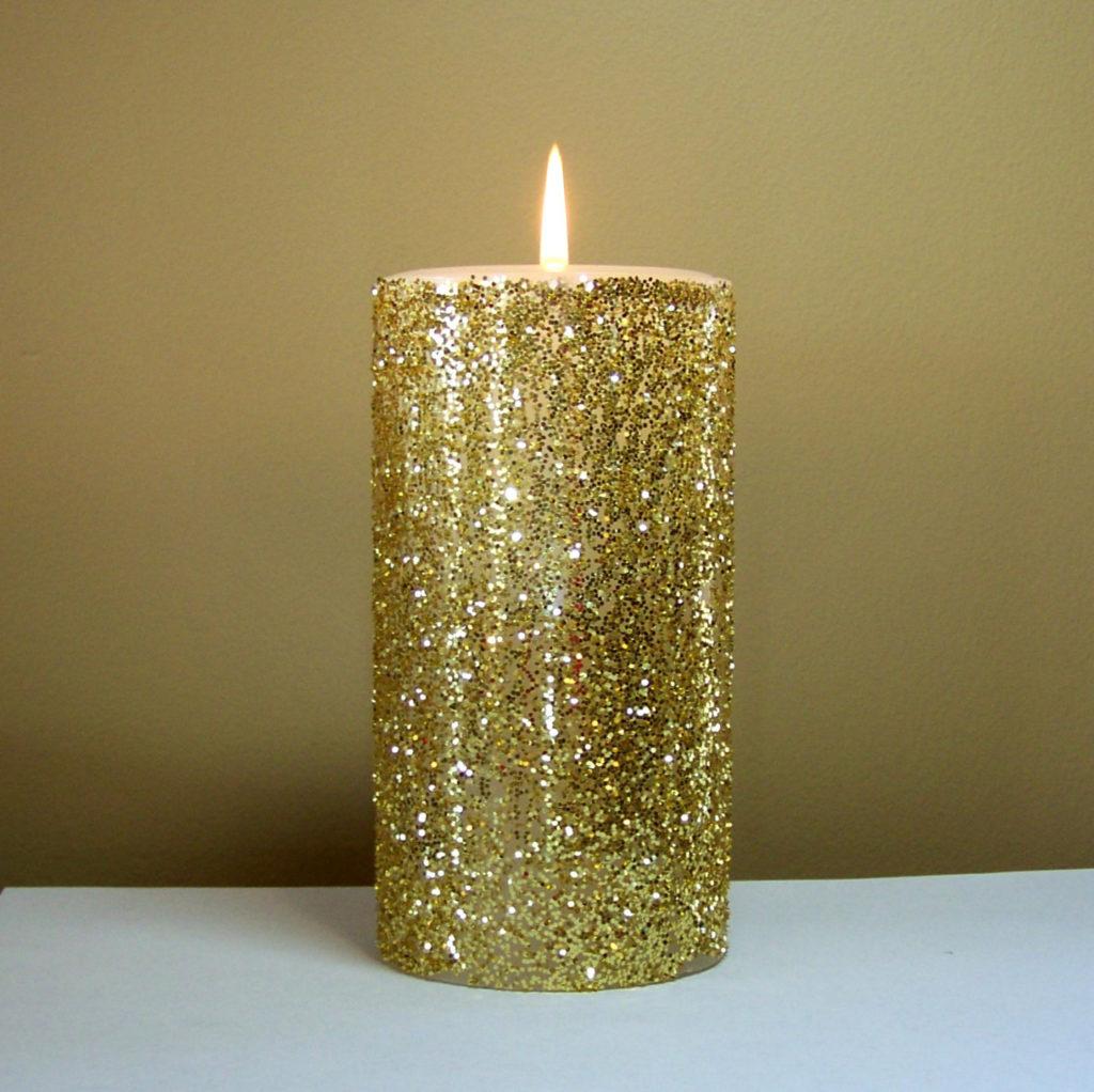 свечи с блестками