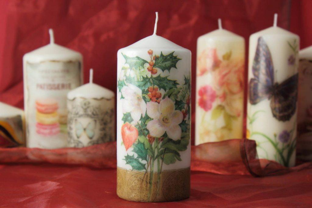 техника декупаж в оформлении свечей