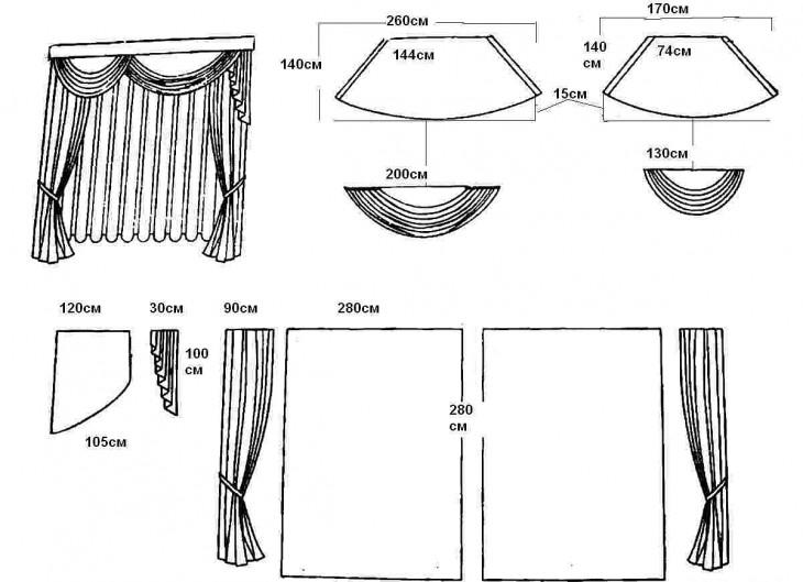 ламбрекен с ассиметричными свагами