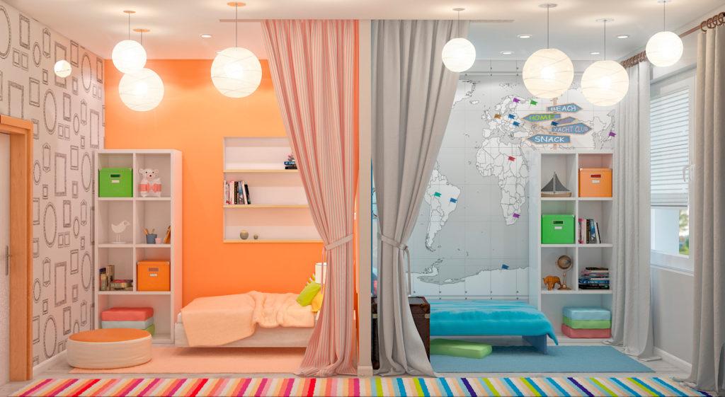 Пример комнаты с перегородкой для двух разнополых детей