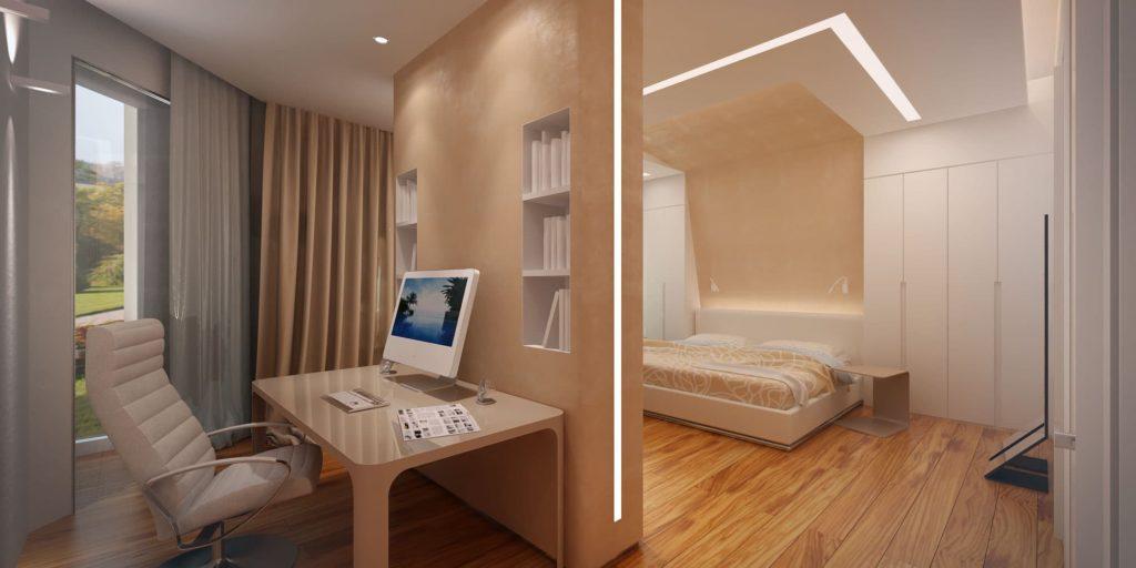 Пример совмещения спальни и рабочей зоны