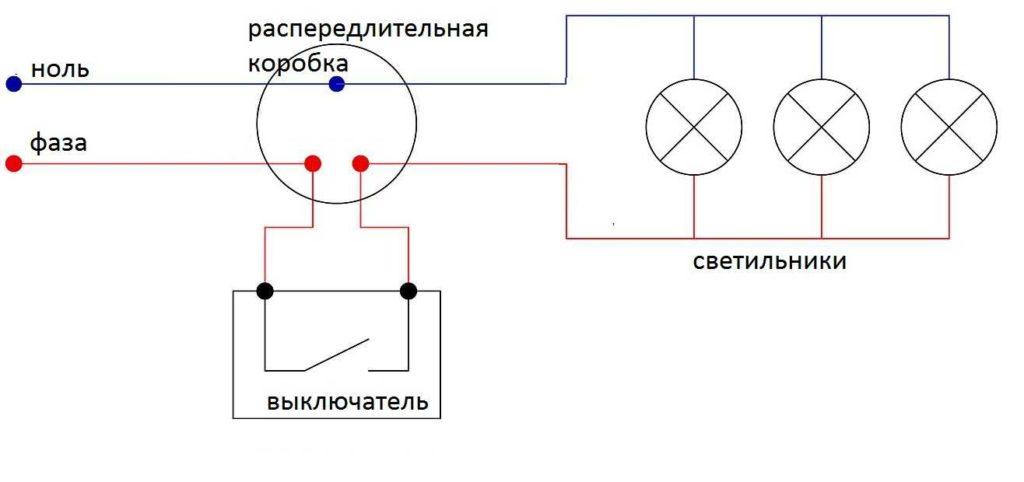 Шлейфный метод параллельного подключения светильников