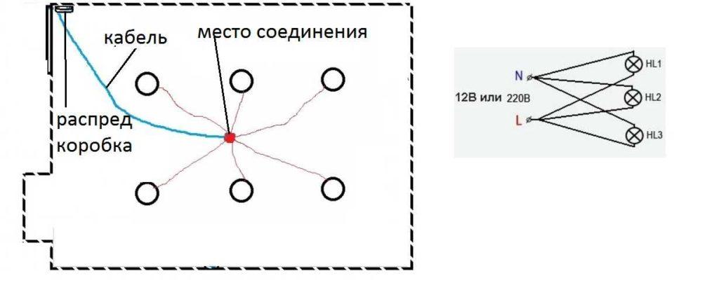Подсоединение кабеля к светильникам